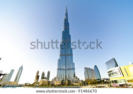 DUBAI, UAE - DECEMBER 21: Burj Khalifa, world's tallest tower, Downtown Burj Dubai December 21, 2011 in Dubai, United Arab Emirates.