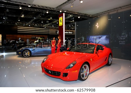 DUBAI, UAE   DECEMBER 16: Ferrari Luxury Cars On Dubai Motor Show 2009 At