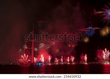 DUBAI, UAE - DECEMBER 1: UAE National Day-2014 celebration with fireworks in Burj Al Arab on December 1,2014 in Dubai, UAE