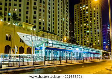 DUBAI, UAE - DES 10, 2014 : View of modern skyscrapers in Jumeirah beach residence on Des 10, 2014 in Dubai, JBR - artificial canal city, carved along a 3 km stretch of Persian Gulf shoreline. - stock photo