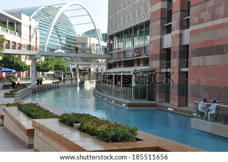 DUBAI, UAE - FEB 8: Festival Centre Waterfront in Dubai, UAE, as seen on Feb 8, 2014. Dubai Festival City is the Middle East's largest mixed-use development. - stock photo