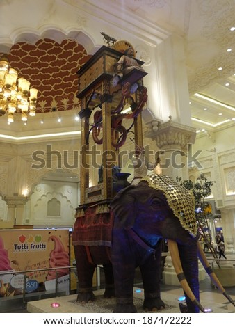 DUBAI, UAE - FEB 15: Ibn Battuta Mall in Dubai, UAE, as seen on Feb 15, 2014. It is the worlds largest themed shopping mall. It consists of six courts. The India court is pictured here.