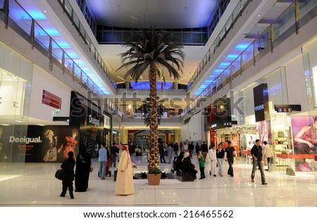 DUBAI, UAE - FEB 11: Inside of the Dubai Mall, biggest mall in the Middle East. February 11, 2009 in Dubai, United Arab Emirates - stock photo