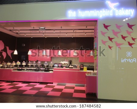 DUBAI, UAE - FEB 16: The Hummingbird Bakery at Dubai Mall in the UAE, on Feb 16, 2014,. Dubai Mall is the worlds largest shopping mall based on total area and 6th largest by gross leasable area. - stock photo