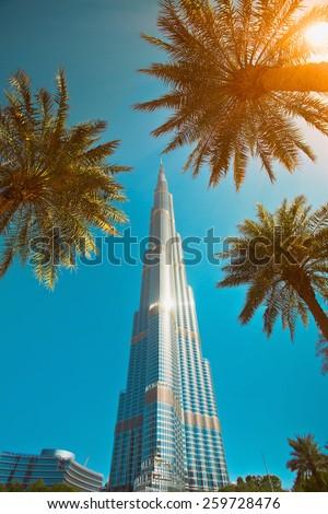 DUBAI, UAE - FEBRUARY 16: Burj Khalifa facade on February 16, 2015 in Dubai, UAE. Burj Khalifa is a tallest building in the world, at 828m. Located on Downtown Dubai, Sheikh Zayed Road. - stock photo
