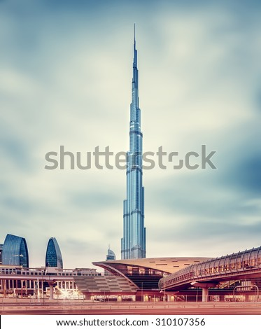 DUBAI, UAE - FEBRUARY 09: Burj Khalifa, world's tallest tower at 828m, located at Downtown, modern new metro station on February 09, 2014 in Dubai, United Arab Emirates - stock photo