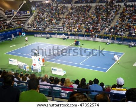 DUBAI, UAE - FEBRUARY 22: Centre court  men's singles event during Dubai Tennis Championships 2010 on February 22, 2010 in Dubai, United Arab Emirates - stock photo