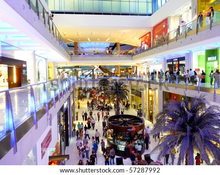 DUBAI, UAE - FEBRUARY 19: Interior View of Dubai Mall 7th largest mall in the world February 19, 2010 in Dubai, United Arab Emirates. - stock photo