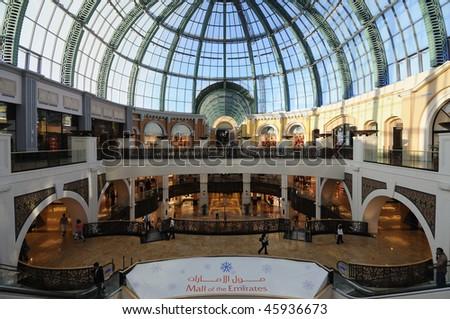 DUBAI, UAE - JAN 21: Mall of the Emirates interior January 21, 2010 in Dubai, United Arab Emirates. Mall of the Emirates is a shopping mall in the Al Barsha district of Dubai. - stock photo