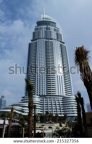 DUBAI, UAE - JAN 29, 2014 - The Address Hotel in the downtown Dubai  - stock photo
