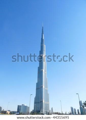 DUBAI, UAE - JANUARY 08: A general view of Burj Khalifa (Burj Dubai) January 08, 2010 in Dubai, United Arab Emirates. The world's tallest tower (828 meters) is now open for general public. - stock photo