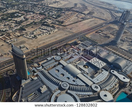 DUBAI, UAE - JANUARY 6: Aerial view of skyscrapers on Sheikh Zayed Road on January 6, 2013 in Dubai, UAE. View of Downtown Dubai from the height of Burj Khalifa.