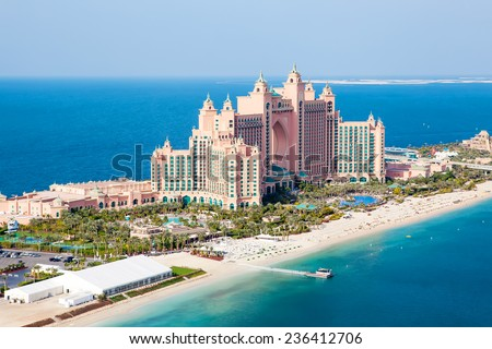 DUBAI, UAE - JANUARY 20: Atlantis hotel on January 20, 2011 in Dubai, UAE. Atlantis the Palm is a luxury 5 star hotel built on an artificial island. From helicopter view from above. - stock photo