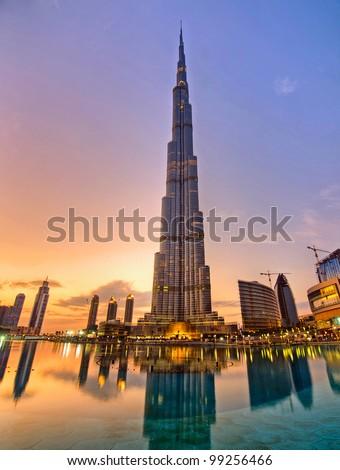 DUBAI, UAE - JANUARY 17: Burj Khalifa facade on January 17, 2010 in Dubai, UAE. Burj Khalifa is a tallest building in the world, at 828m. Located on Downtown Dubai, Sheikh Zayed Road. - stock photo
