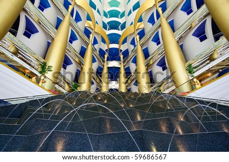DUBAI, UAE - JULY 30: The grand entrance to the Burj al Arab Hotel taken 30th July 2010 in Dubai.  The hotel is classed as one of the most luxurious in the world. - stock photo