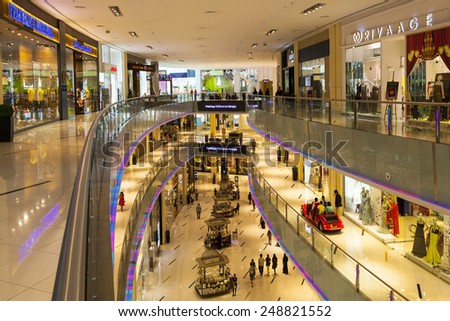 DUBAI, UAE - 5 JUN 2014: People walking in Mall of the Emirates in Dubai, UAE. Mall of the Emirates is multi-level shopping center with over 700 stores. The largest shopping mall by are in the world.
