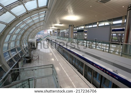 DUBAI, UAE - JUNE 5: Interior of the Metro Station at Dubai Airport Terminal 3. June 5, 2011 in Dubai, United Arab Emirates