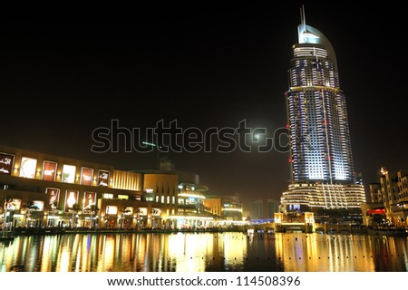 DUBAI, UAE - JUNE 7: The Dubai Mall is the world's largest shopping mall.  It is located in Burj Khalifa complex and has 1200 shops inside on June 7, 2012 in Dubai, UAE - stock photo