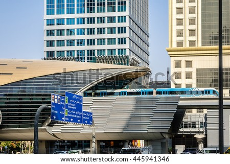 DUBAI, UAE - JUNE 26, 2016: View of metro station on Sheikh Khalifa Bin Zayed road. Guinness World Records has declared Dubai Metro as world's longest fully automated metro network (75 km).