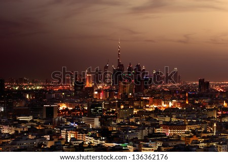 DUBAI, UAE - MAR 2: A skyline panorama of Dubai and the Deira area on Mar 2, 2013 in Dubai, UAE. Deira area historically has been the commercial center of Dubai and stands as an important port
