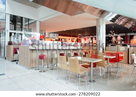 DUBAI, UAE - MARCH 10, 2015: BK restaurant interior. Burger King, often abbreviated as BK, is a global chain of hamburger fast food restaurants - stock photo
