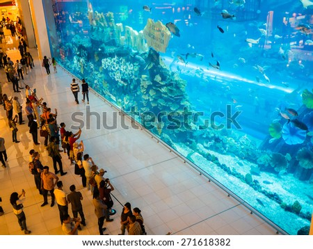 DUBAI, UAE - MARCH 16: Dubai Mall on March 16, 2015 in Dubai, UAE.  It´s one of the world's largest shopping mall. - stock photo