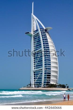 DUBAI,UAE - MARCH 12,2012:Hotel Burj al Arab view from Jumeirah beach in Dubai - stock photo
