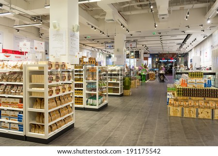 DUBAI, UAE - MARCH 29, 2014: Interior view of Eataly shop inside Dubai Mall. At over 12 million sq ft, it is the world's largest shopping mall.  - stock photo