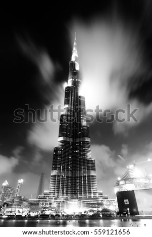 DUBAI, UAE - MARCH 28: The Burj Khalifa, tallest building in the world, taken on March 28, 2015 in Dubai. In front is The Dubai Fountain show the biggest fountain in the world.