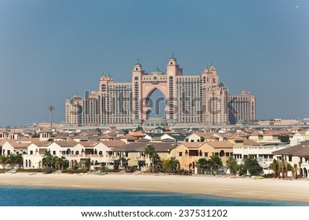 DUBAI, UAE - MARCH 1: View of the luxury hotel Atlantis, on March 1, 2013  in Dubai, United Arab Emirates. Taken from the Palm Jumeirah at sunrise. - stock photo