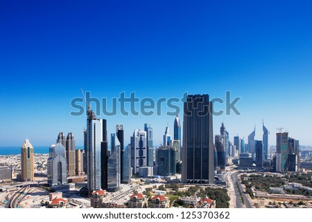 DUBAI, UAE - MAY 7 - Dubai International Financial Centre (DIFC) is an on-shore financial hub helping business and financial institutions to reach the emerging markets. Picture taken on May 7, 2010. - stock photo