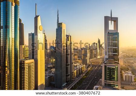 DUBAI, UAE - NOVEMBER 24 - Aerial view of downtown Dubai in a summer day, United Arab Emirates on November 24, 2015 - stock photo