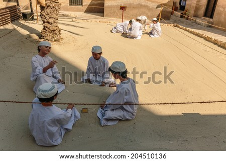 DUBAI, UAE-NOVEMBER 9: Ancient Islamic School, Heritage Village on November 9, 2013. It is the largest historical museum in Dubai.