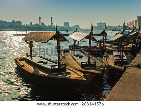 DUBAI, UAE - NOVEMBER 13: Boats on the Bay Creek in Dubai, UAE nov 13 2012 - stock photo