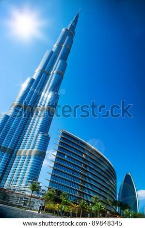 DUBAI, UAE. - NOVEMBER 29 : Burj Dubai - tallest building in the world, at 828m. on November 29, 2011 in Dubai, UAE. View from Downtown Dubai - stock photo
