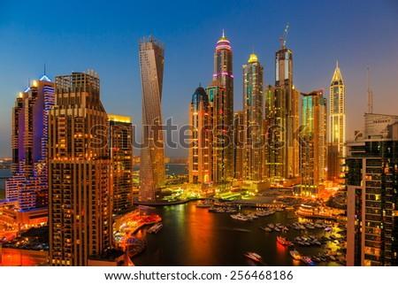 DUBAI, UAE - NOVEMBER 2, 2013: Dubai Marina at night from the top - stock photo
