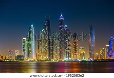 DUBAI, UAE - NOVEMBER 7: Dubai Marina. UAE. November 7, 2013. Dubai was the fastest developing city in the world between 2002 and 2008. - stock photo