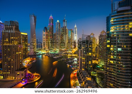 DUBAI, UAE - NOVEMBER 2: Dubai Marina. UAE. November 2, 2013. Dubai was the fastest developing city in the world between 2002 and 2008. - stock photo