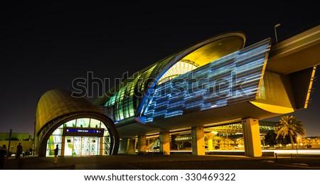 DUBAI, UAE - NOVEMBER 2: Dubai Metro as world's longest fully automated metro network (75 km) on November 2, 2013, Dubai, UAE. - stock photo