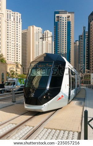 DUBAI, UAE - NOVEMBER 19: Dubai opened its first Tram service from Dubai Marina to Al Sufouh area on November 11, 2014. November 19, 2014, in Dubai, UAE. - stock photo