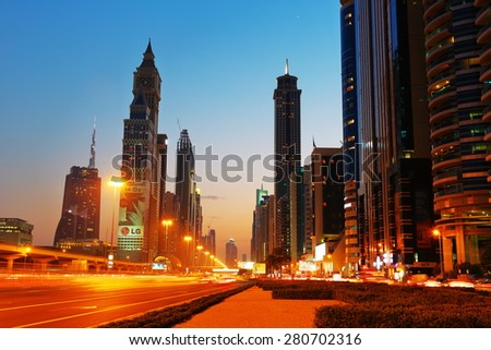 DUBAI, UAE - NOVEMBER 14, 2013: General view of Dubai at night. Dubai was the fastest developing city in the world between 2002 and 2008. - stock photo