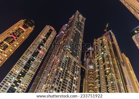 DUBAI, UAE - NOVEMBER 7: General view of Dubai at night, on November 7, 2013, Dubai, UAE. Dubai was the fastest developing city in the world between 2002 and 2008.