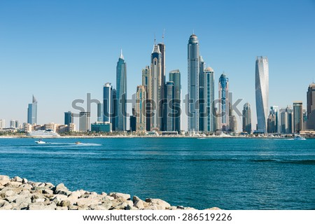 DUBAI, UAE - NOVEMBER 7: General view of the Dubai Marina, on November 7, 2013, Dubai, UAE. In the city of artificial channel length of 3 kilometers along the Persian Gulf. - stock photo