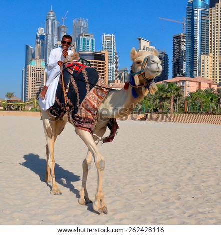 DUBAI, UAE - NOVEMBER 11, 2013: High rise buildings and man riding a camel on the beach - stock photo