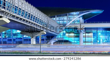 DUBAI, UAE - NOVEMBER 11, 2013: Metro subway station at night. Dubai Metro as world's longest fully automated metro network 75 km. - stock photo