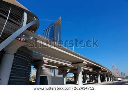 DUBAI, UAE - NOVEMBER 11, 2013: Metro subway station. Dubai Metro as world's longest fully automated metro network  75 km - stock photo