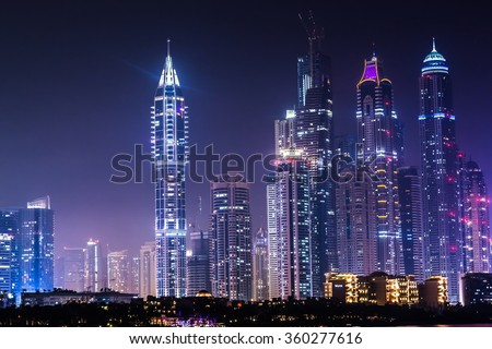 DUBAI, UAE - NOVEMBER 13: Modern buildings in Dubai Marina, Dubai, UAE. In the city of artificial channel length of 3 kilometers along the Persian Gulf, taken on 13 November 2012 in Dubai.