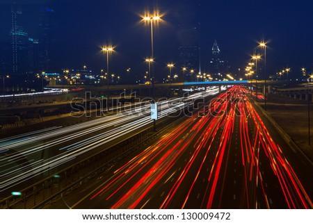 DUBAI, UAE - NOVEMBER 14: Nightlife in Dubai Marina. UAE. November 14, 2012 - stock photo