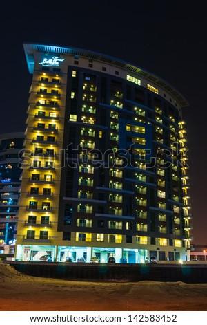 DUBAI, UAE - NOVEMBER 14: Nightlife in Dubai Marina. UAE. November 12, 2012. Dubai was the fastest developing city in the world between 2002 and 2008. - stock photo