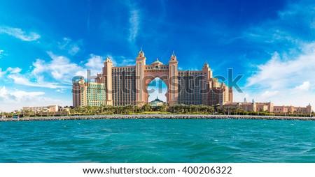 DUBAI, UAE - NOVEMBER 13:  Panorama of Atlantis the Palm is a luxury 5 star hotel in Dubai, UAE on November 13, 2015 - stock photo